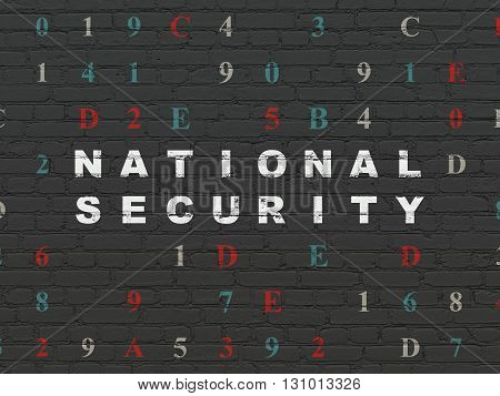 Security concept: Painted white text National Security on Black Brick wall background with Hexadecimal Code