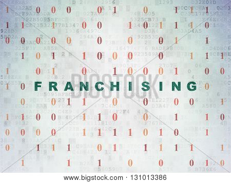 Finance concept: Painted green text Franchising on Digital Data Paper background with Binary Code