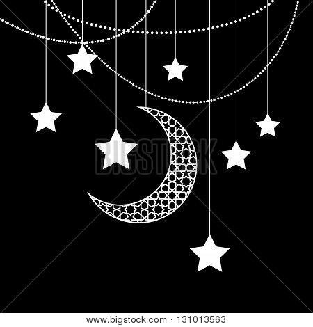 Ramadan greeting card on black background. Vector illustration.