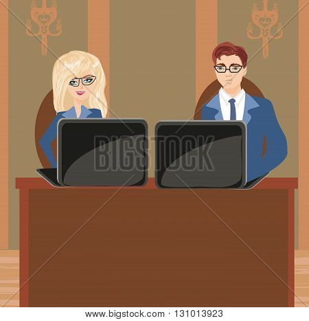 Formally dressed people in office business meeting , vector illustration