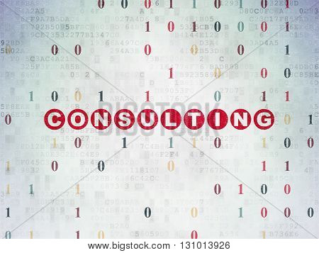 Finance concept: Painted red text Consulting on Digital Data Paper background with Binary Code