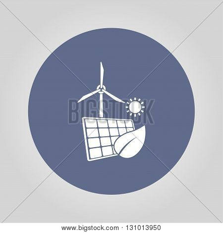 solar panel icon and wind turbine icon. Vector