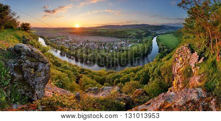 Panorama with river at sunset in mountain