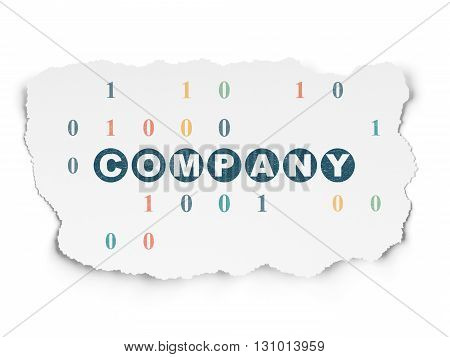 Finance concept: Painted blue text Company on Torn Paper background with  Binary Code