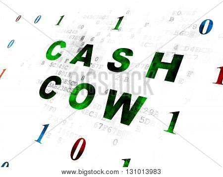 Business concept: Pixelated green text Cash Cow on Digital wall background with Binary Code