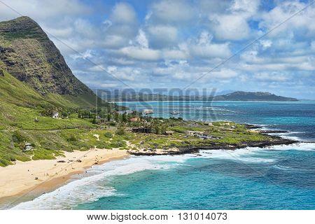 Honolulu Hawaii big blue ocean vista view.