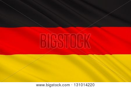 Flag of Germany - first adopted as the national flag of modern Germany in 1919 during the Weimar Republic. Since reunification on 3rd October 1990 the black-red-gold tricolor has become the flag of reunified Germany.