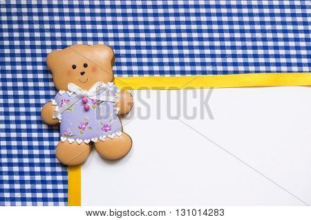 A cute vichy background with a handmade honey-cake bear with a place for your text for a baby shower party, a birthday party or other events.