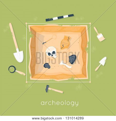 Archeology science. Ancient fossils. Discovering a jug, treasure hunters ancient artifacts. Historical archeology. Tools for excavations. Species origin. Education. Flat style vector illustration.