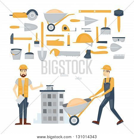 Construction and building, repairs. Worker or builder job. Builder icon. Tools. Characters. Vector color flat illustrations.