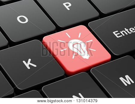 Business concept: computer keyboard with Light Bulb icon on enter button background, 3D rendering
