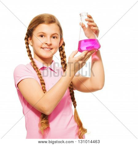Young scientist pouring pink chemicals at the flask, isolated on white background