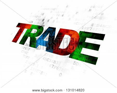 Business concept: Pixelated multicolor text Trade on Digital background