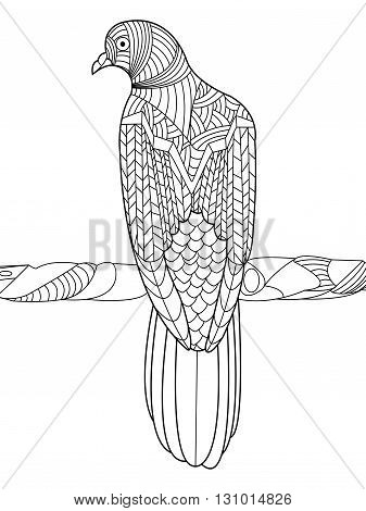 Dove coloring book for adults vector illustration. Anti-stress coloring for adult. Zentangle style. Black and white lines. Lace pattern