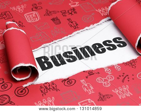 Finance concept: black text Business under the curled piece of Red torn paper with  Hand Drawn Business Icons, 3D rendering