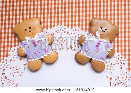 A cute vichy background with handmade honey-cake bears and a place for your text for a baby shower party, a birthday party or other events.