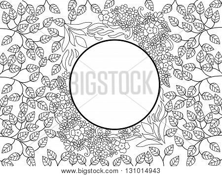 Mandala coloring book for adults vector illustration. Flower pattern anti-stress coloring for adult. Zentangle style. Black and white lines. Lace pattern