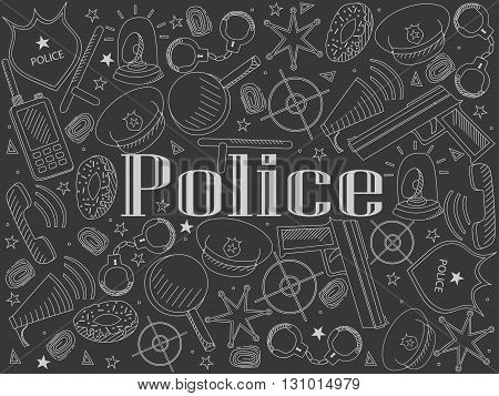 Vector line art Doodle set of cartoon characters and objects police. Chalk