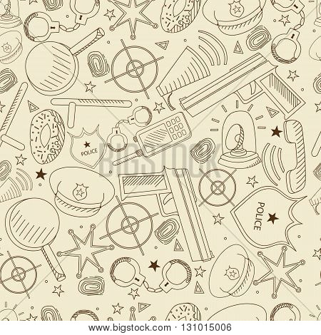 Vector line art Doodle set of cartoon characters and objects police. Seamless retro