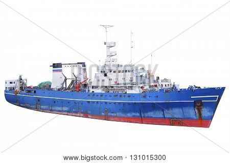 Cargo ship isolated