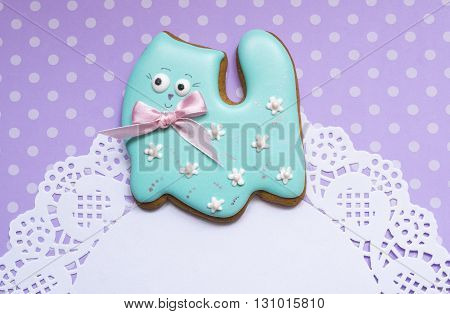 A cute polka dot background with a handmade honey-cake cat and a place for your text for a baby shower party, a birthday party, an Easter party or other events.
