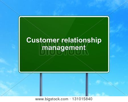 Advertising concept: Customer Relationship Management on green road highway sign, clear blue sky background, 3D rendering
