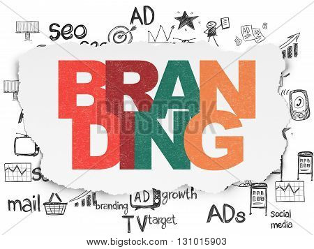 Advertising concept: Painted multicolor text Branding on Torn Paper background with  Hand Drawn Marketing Icons