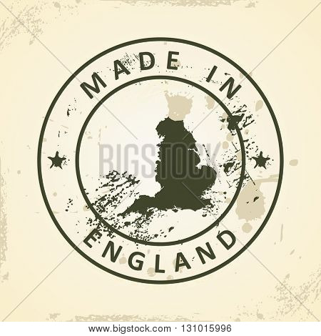 Grunge stamp with map of England - vector illustration