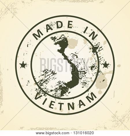 Grunge stamp with map of Vietnam - vector illustration