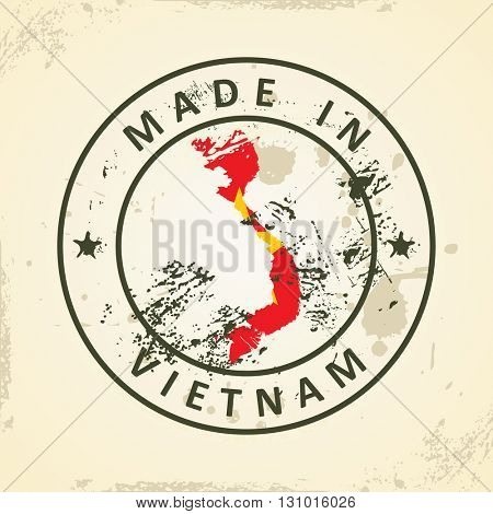 Grunge stamp with map flag of Vietnam - vector illustration