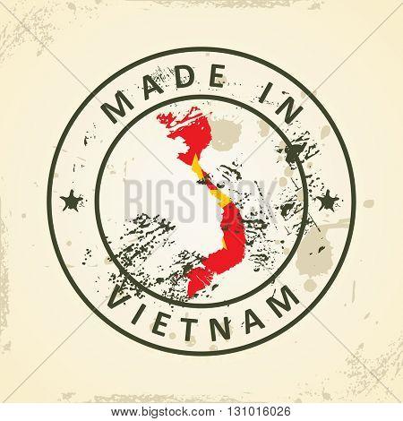 Grunge stamp with map flag of Vietnam - vector illustration