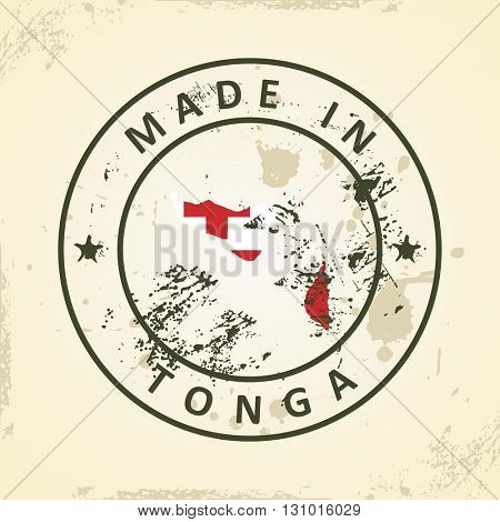 Grunge stamp with map flag of Tonga - vector illustration