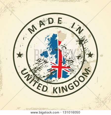 Grunge stamp with map flag of United Kingdom - vector illustration