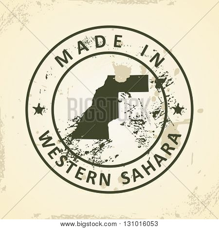 Grunge stamp with map of Western Sahara - vector illustration
