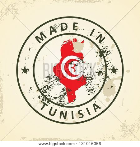 Grunge stamp with map flag of Tunisia - vector illustration