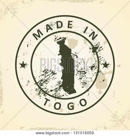 Grunge stamp with map of Togo - vector illustration