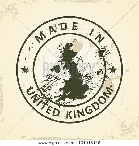Grunge stamp with map of United Kingdom - vector illustration