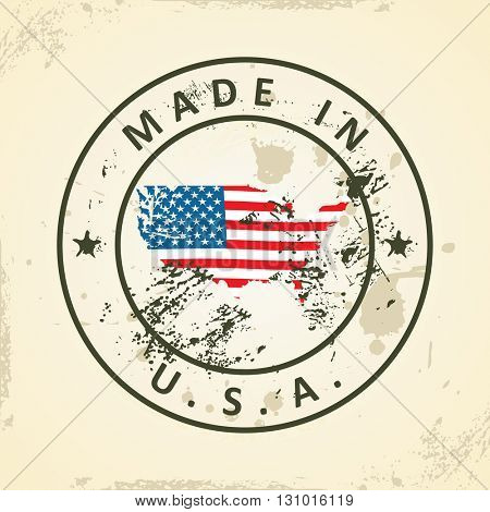Grunge stamp with map flag of USA - vector illustration