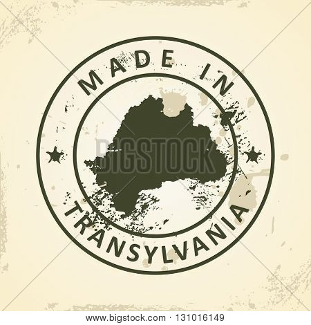 Grunge stamp with map of Transylvania - vector illustration