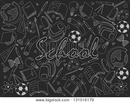 Vector line art Doodle set of cartoon characters and objects school. Chalk