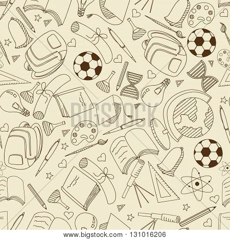 Vector line art Doodle set of cartoon characters and objects school. Seamless retro