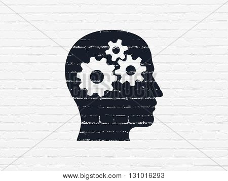 Marketing concept: Painted black Head With Gears icon on White Brick wall background