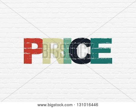 Advertising concept: Painted multicolor text Price on White Brick wall background