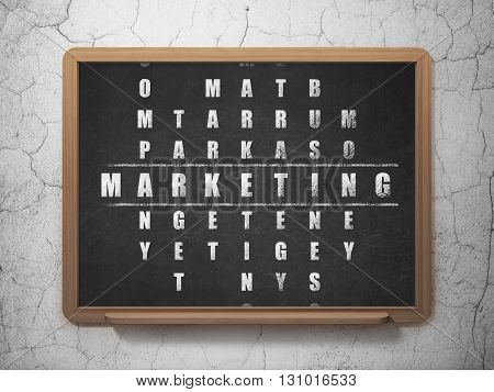Marketing concept: Painted White word Marketing in solving Crossword Puzzle on School board background, 3D Rendering