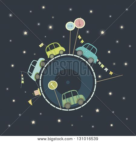 Cars traveling around the globe in big space. Vector illustration.