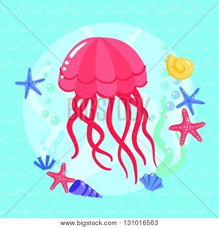 Cute  Jellyfish With Seasters And Shells