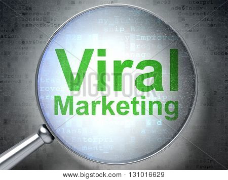 Marketing concept: magnifying optical glass with words Viral Marketing on digital background, 3D rendering