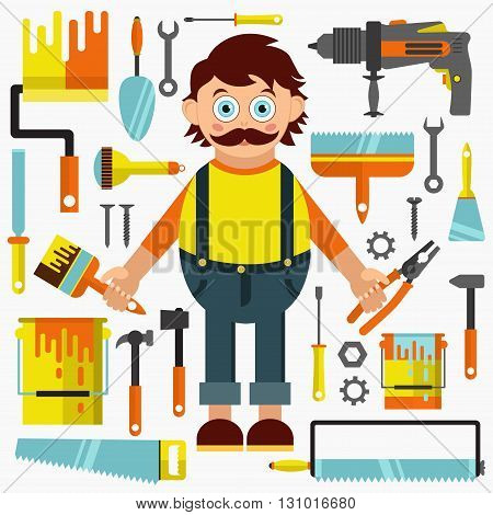 Repairman flat vector collection. Different tools for house construction and repair