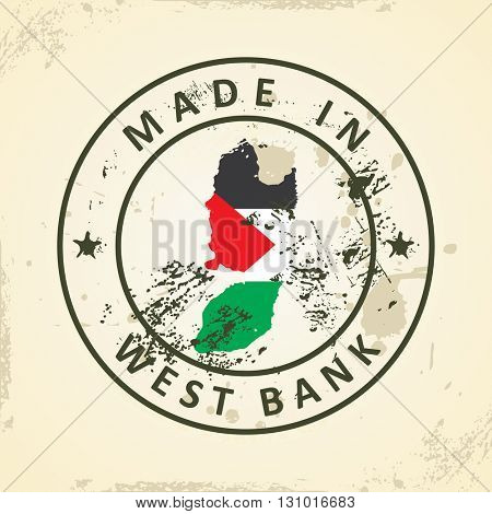 Grunge stamp with map flag of West Bank - vector illustration