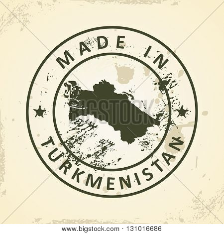 Grunge stamp with map of Turkmenistan - vector illustration